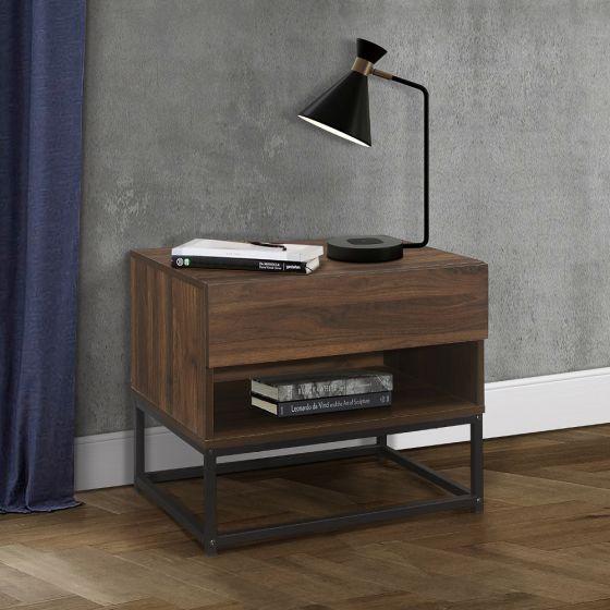 Houston Walnut Wooden 1 Drawer Bedside Table