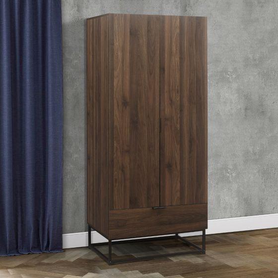 Houston Walnut Wooden Combination Wardrobe