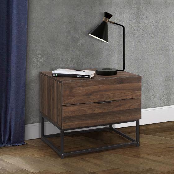 Houston Walnut Wooden 2 Drawer Bedside Table