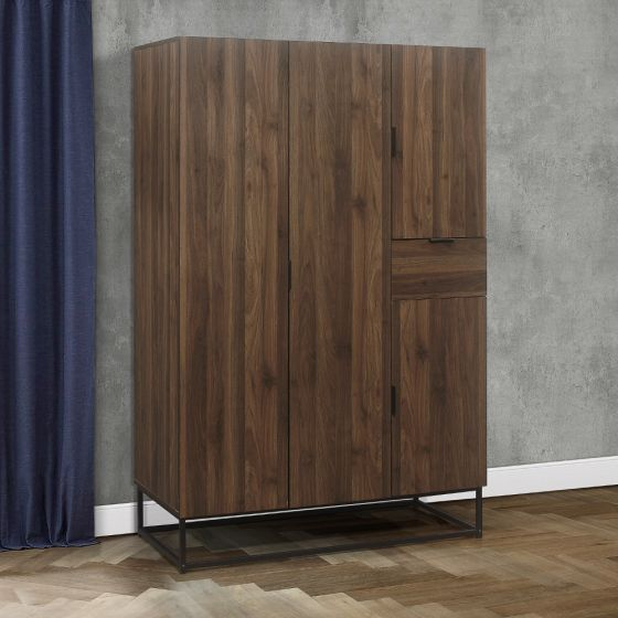 Houston Walnut Wooden 4 Door Wardrobe