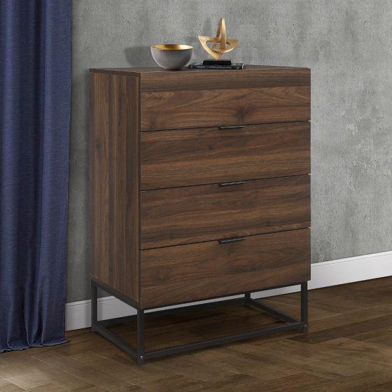 Houston Walnut Wooden 4 Drawer Chest