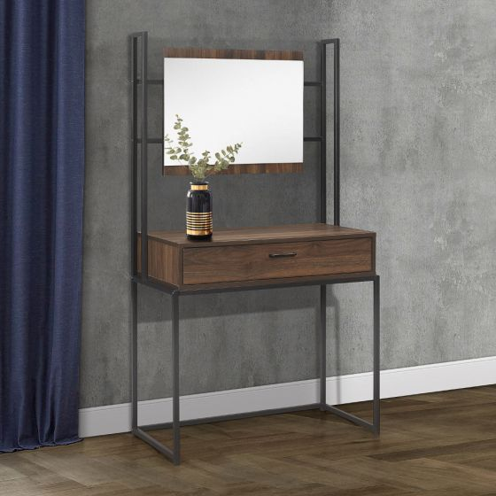 Houston Walnut Wooden Dressing Table and Mirror