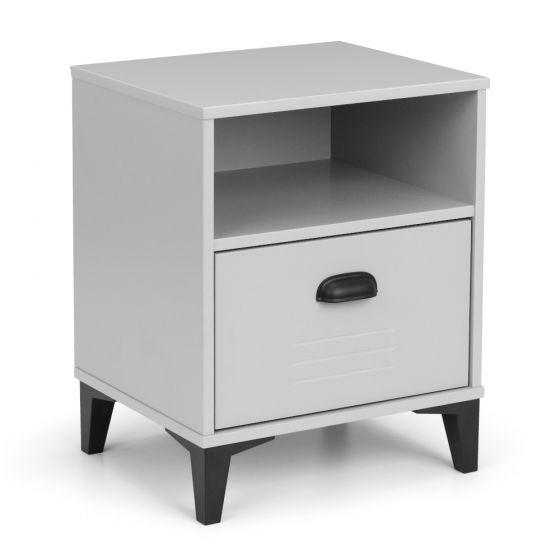 Lakers Locker Grey Wooden 1 Drawer Bedside Table