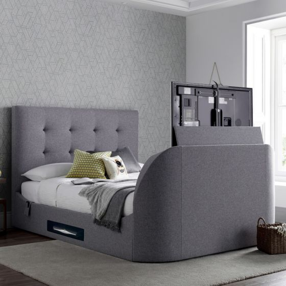 Lannister Light Grey Fabric Electric TV Bed