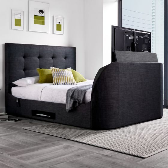 Lannister Slate Grey Fabric Electric TV Bed