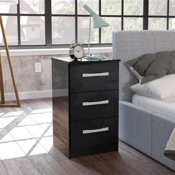 Lynx 3 Drawer Bedside Table Black