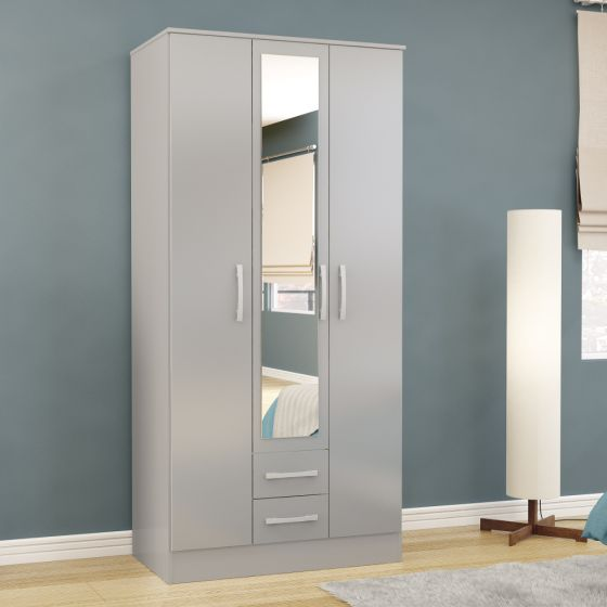 Lynx Grey 3 Door Combination Wardrobe with Mirror