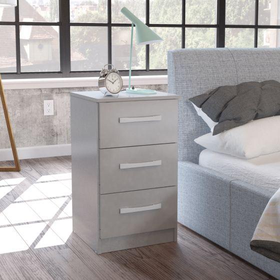 Lynx Grey 3 Drawer Bedside Table