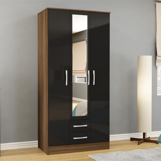Lynx 3 Door Combination Mirrored Wardrobe Walnut and Black