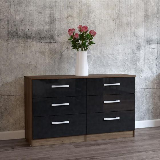 Lynx 6 Drawer Chest Walnut and Black from £204.99