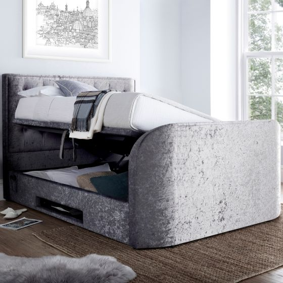 Lyon Silver Velvet Fabric Ottoman Media TV Bed