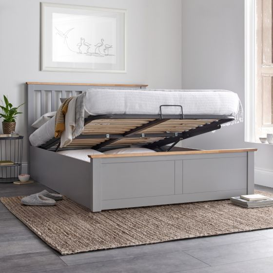 Malmo Grey Wooden Ottoman Bed