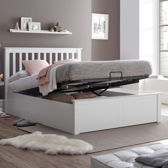Malmo White Wooden Ottoman Bed