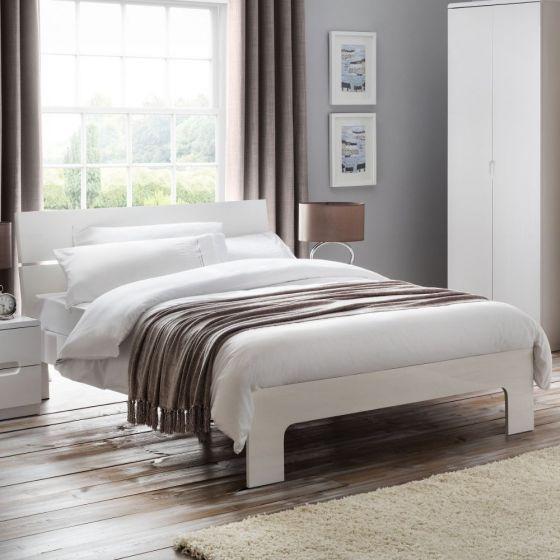 Manhattan White Gloss Wooden Bed