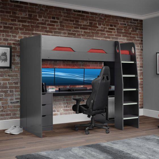 Mercury Grey Wooden High Sleeper Gaming Bed