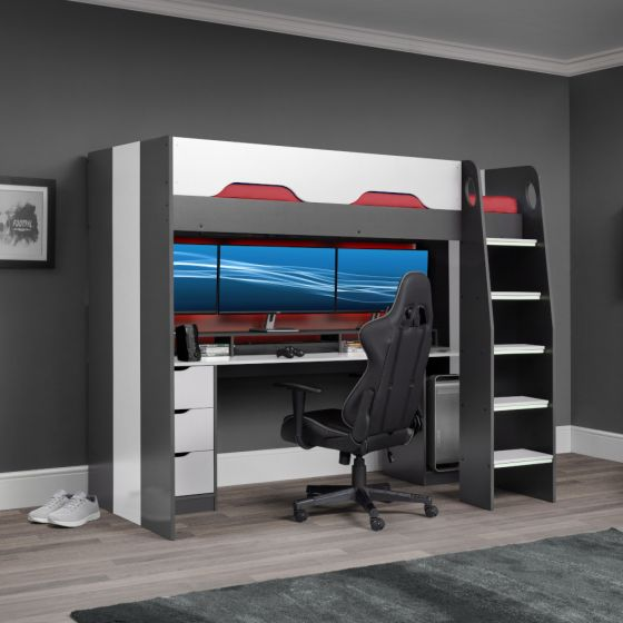 Mercury Grey and White Wooden High Sleeper Gaming Bed