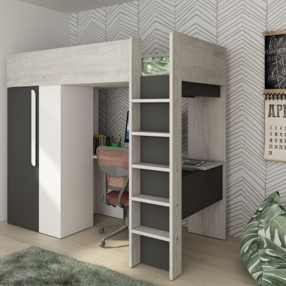 Mont Blanc Grey and White Wooden High Sleeper