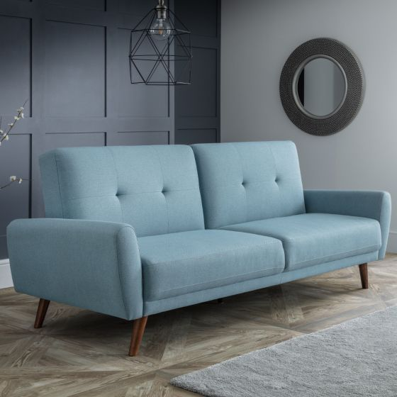 Monza Blue Fabric 3 Seater Sofa Bed