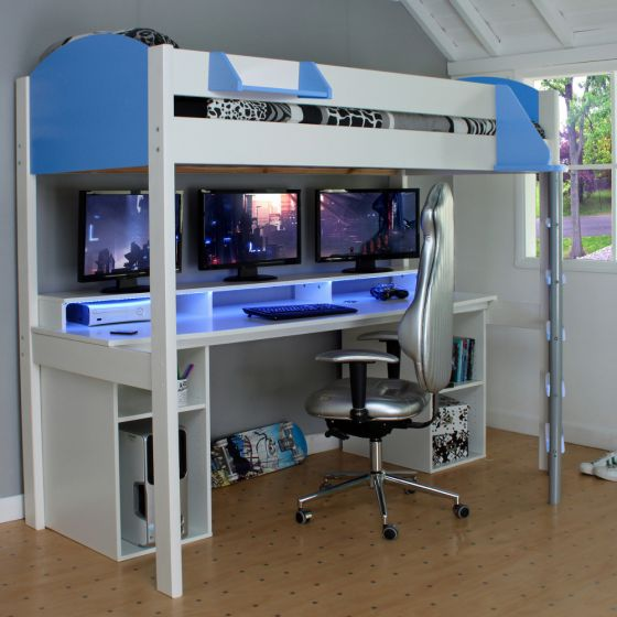 Noah White and Blue Wooden Gaming High Sleeper with Storage
