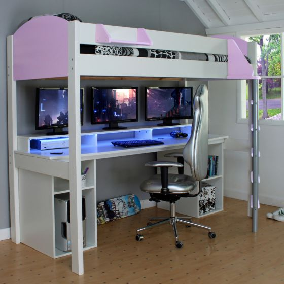 Noah White and Lilac Wooden Gaming High Sleeper with Storage