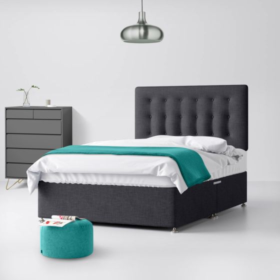 Cornell Buttoned Charcoal Fabric Divan Bed