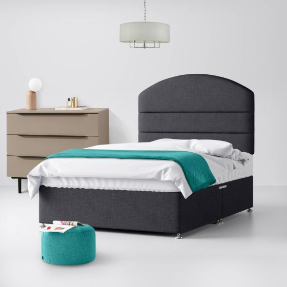Dudley Lined Charcoal Fabric Divan Bed