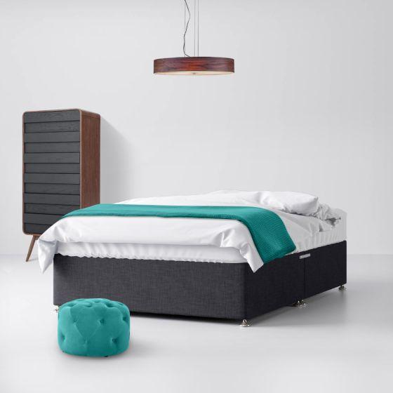 Classic Charcoal Fabric Divan Bed