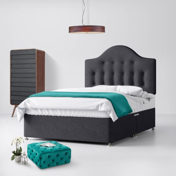 Victor Buttoned Charcoal Fabric Divan Bed