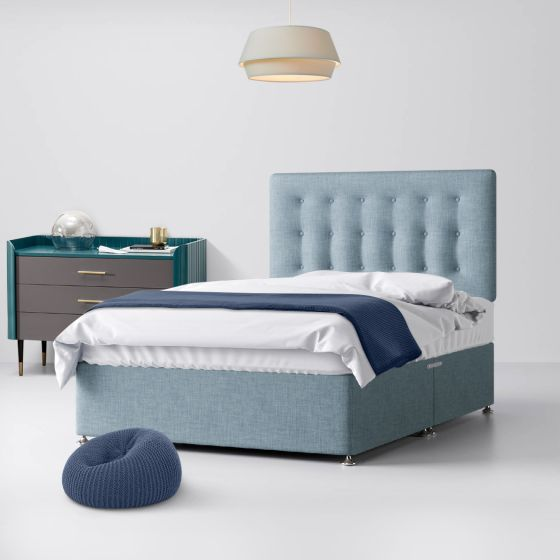 Cornell Buttoned Duck Egg Fabric Divan Bed
