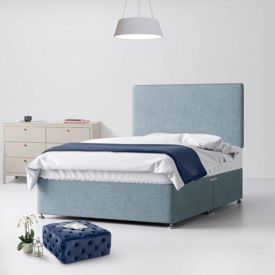 Cornell Plain Duck Egg Fabric Divan Bed