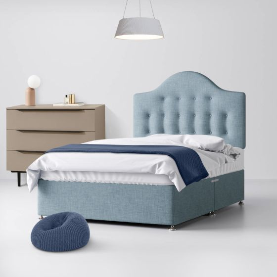 Victor Buttoned Duck Egg Fabric Divan Bed