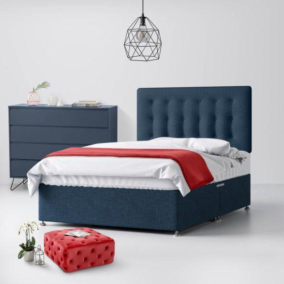 Cornell Buttoned Midnight Blue Fabric Divan Bed