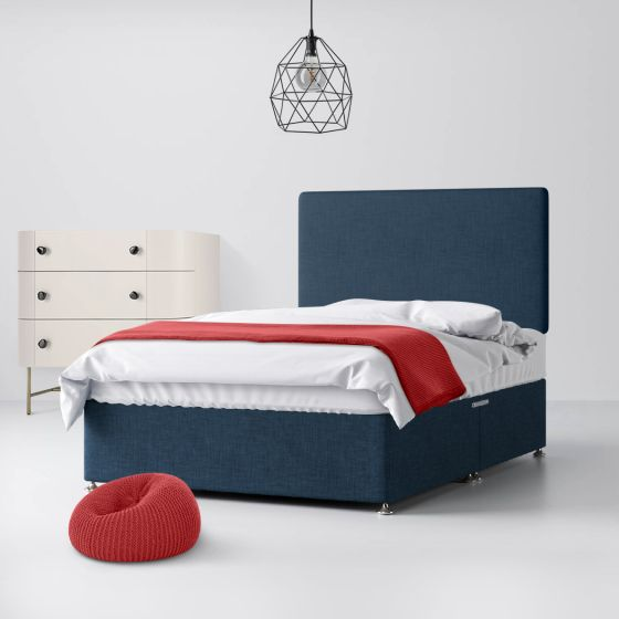 Cornell Plain Midnight Blue Fabric Divan Bed
