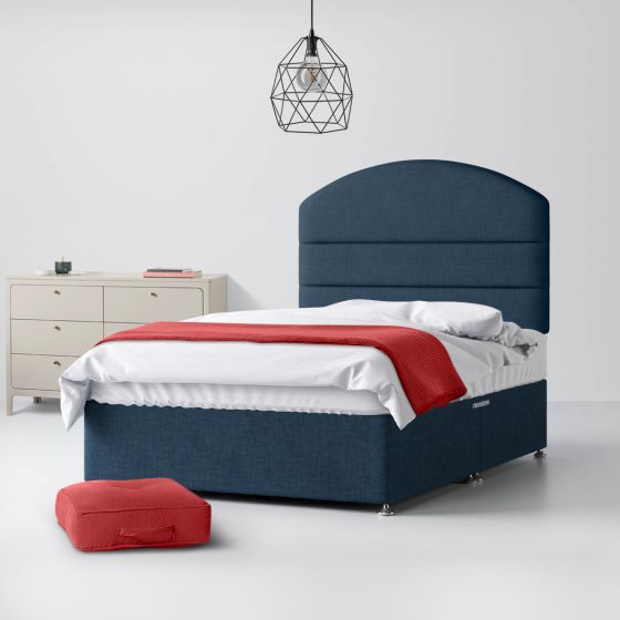 Dudley Lined Midnight Blue Fabric Divan Bed