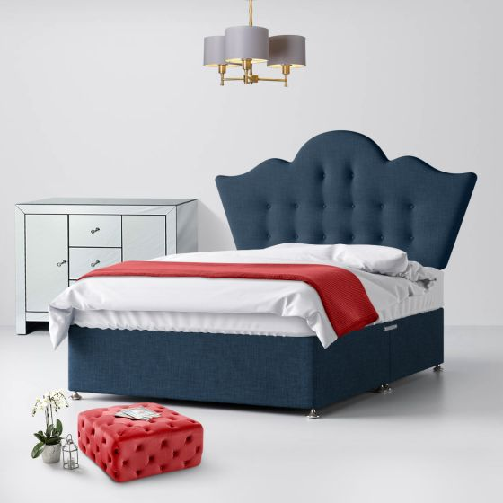 Florence Buttoned Midnight Blue Fabric Divan Bed