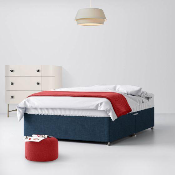 Classic Midnight Blue Fabric Divan Bed