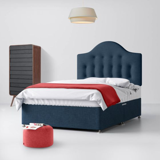 Victor Buttoned Midnight Blue Fabric Divan Bed