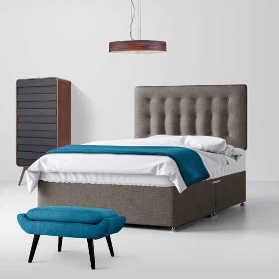 Cornell Buttoned Slate Grey Fabric Divan Bed