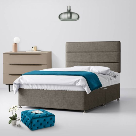 Cornell Lined Slate Grey Fabric Divan Bed