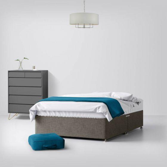 Classic Slate Grey Fabric Divan Bed