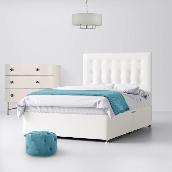 Cornell Buttoned White Fabric Divan Bed