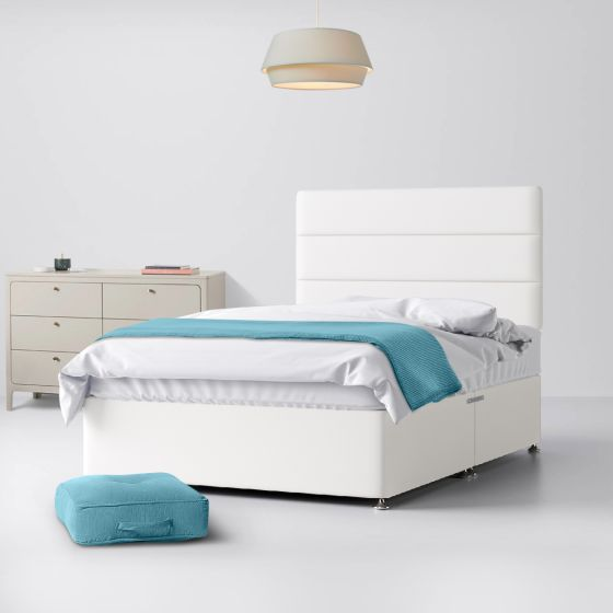 Cornell Lined White Fabric Divan Bed