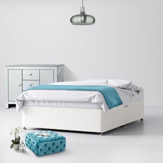Classic White Fabric Divan Bed