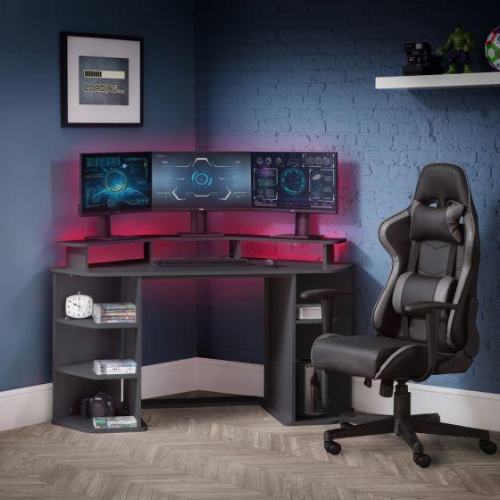 Orbit Grey Wooden Corner Gaming Desk