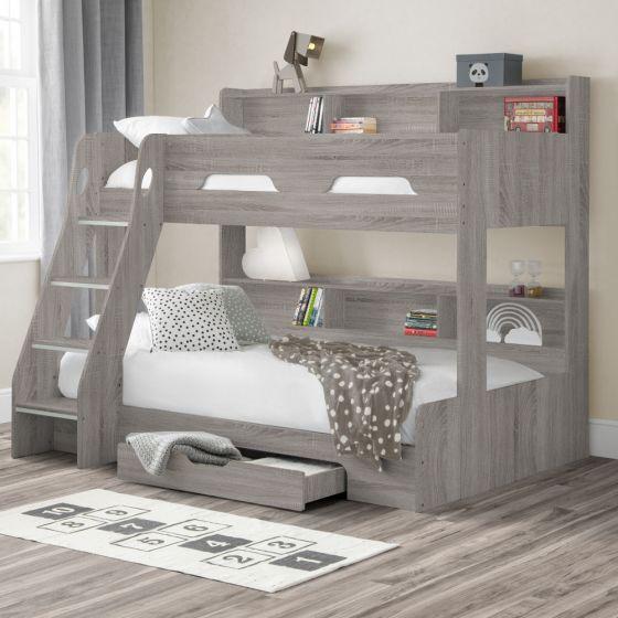 Orion Grey Oak Wooden Storage Triple Sleeper Bunk Bed