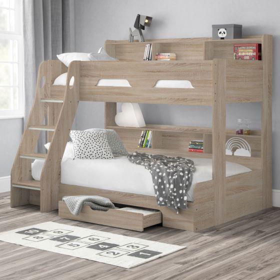Orion Oak Wooden Storage Triple Sleeper Bunk Bed