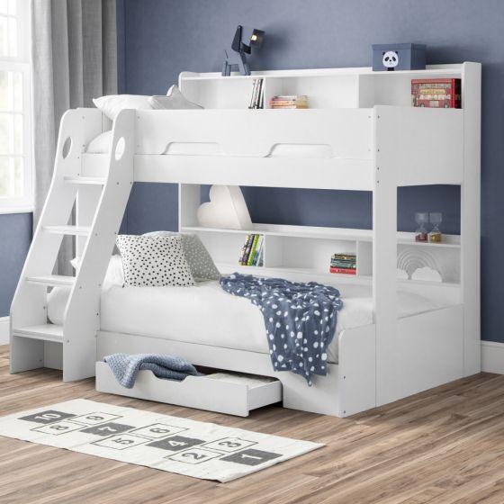 Orion White Wooden Storage Triple Sleeper Bunk Bed