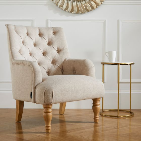 Padstow Wheat Fabric Armchair