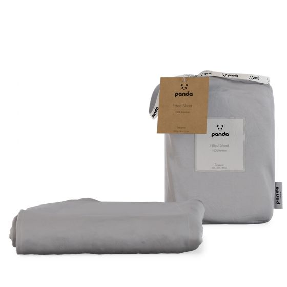 Panda 100% Bamboo Fitted Sheet - Quiet Grey