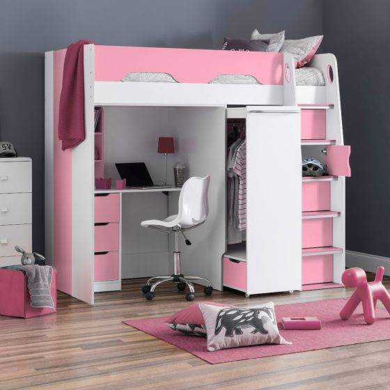 Pegasus Pink and White Wooden High Sleeper
